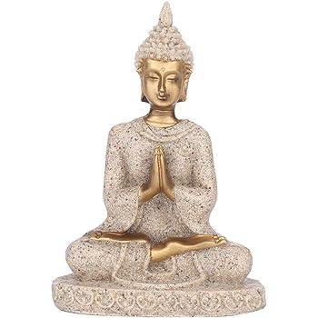 AUNMAS Buddha Statue Meditating Seated Carving Figurine Craft for Home Desktop Decoration Ornament(1#)