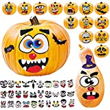 Large Halloween Pumpkin Stickers Decorations Party Favors for Kids Boys Girls - Make 45 Face Mouth Eyes Stickers Cute Halloween Decor Idea for Treats, Gifts, Crafts