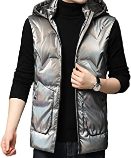 Men's Down Jacket Vest Autumn and Winter Windproof and Warm Sleeveless Vest Jacket (Color : Silver, Size : 190)