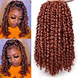 Leeven 12 Inch Bob Pre Twisted Passion Twist Crochet Hair With Curly Ends 2 Packs Copper Red Synthetic looped Passion Twists Braids Hair 350# Bohemian Braiding Hair for Black Women 12 Strands/Pack