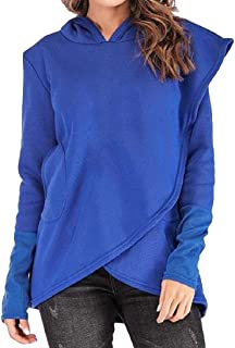 Women Long Sleeve Casual Hoodie Sweatshirt Pullover Loose Tunic with Pockets Top