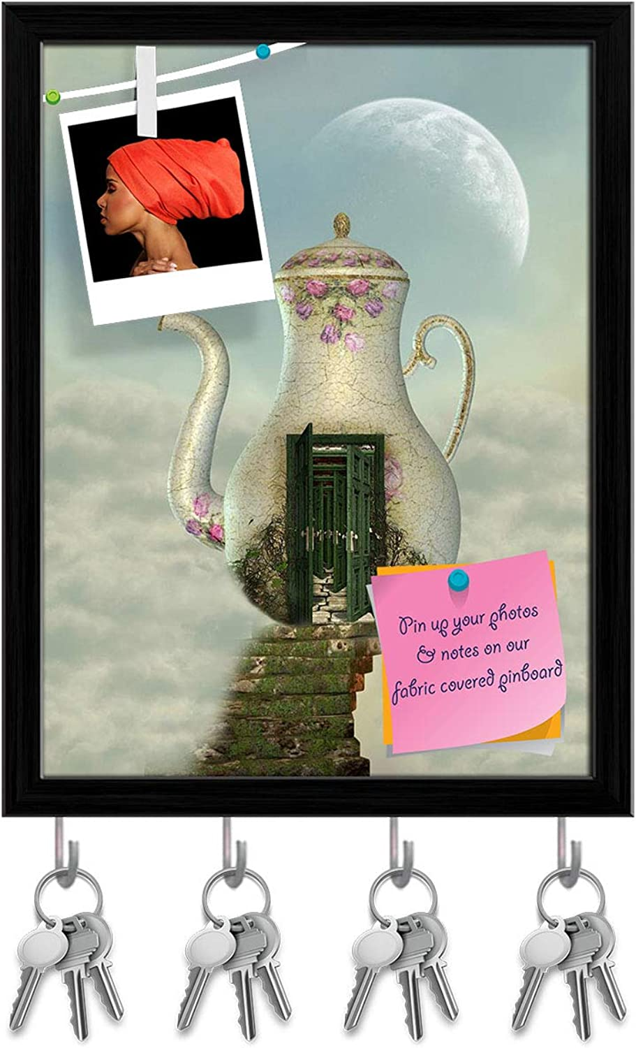 Artzfolio Teapot House in The Sky Key Holder Hooks   Notice Pin Board   Black Frame 12 X 15.7Inch