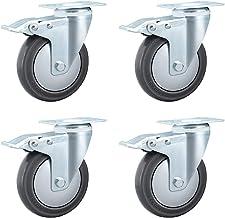 Zwenkwielen Trolleywielen Bewegende wielen Zwaar uitgevoerde zwenkwielen met remmen Dubbel gelagerd Meubelwiel voor meubel...