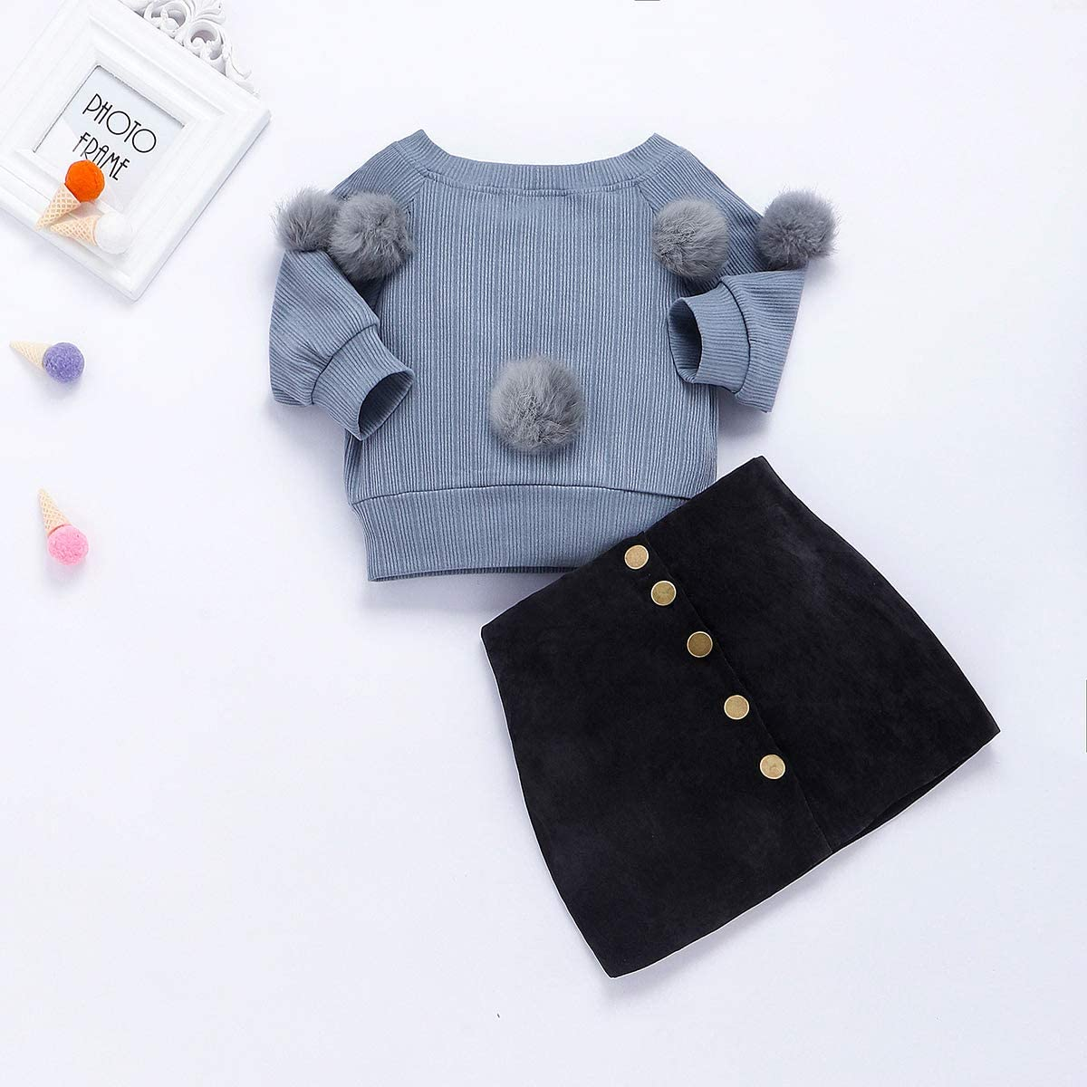 Baby Girl Floral Ruffled T-Shirt Bell Sleeve Flare Crop Top Leopard Print Suspender Skirt Casual Denim Jean Skirt Outfits