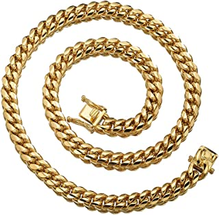 Mens 18k Gold Plated Stainless Steel Hip Hop Cuban Curb Link Chain Necklace