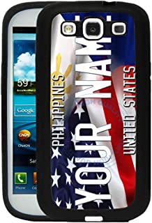 BRGiftShop Customize Your Own Mixed USA and Philippines Flag Rubber Phone Case for Samsung Galaxy J3 2016