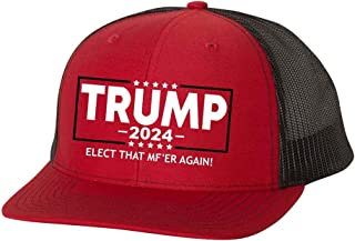 Trenz Shirt Company Political Elect That MF'ER Again Trump 2020 Embroidered Trucker Mesh Snapback Hat-Red/Black Mesh