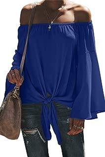 SZIVYSHI Long Sleeve Ruffled Ruffle Hem Bell Trumpet Flared Flare Sleeve Off The Shoulder Tie Front T-Shirt Blouse Shirt Top