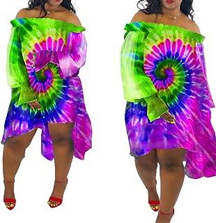 ECHOINE Womens Chiffon Off Shoulder Dress - Ruffled Long Sleeve Printed Midi Dresses