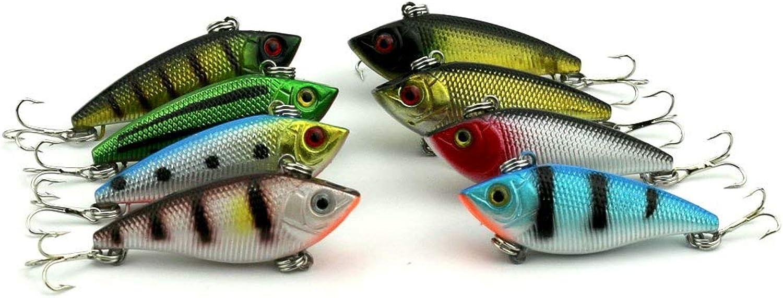 Generic 8pcs Hard Plastic Fishing Lures VIB 5CM 6G 8 Hooks (VI007) Plastic Hard Crankbait Fishing Lure Bass Pesca Fishing Tackles