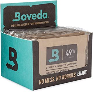 Boveda 49% RH 70 Gram, Patented 2-Way Humidity Control for Wood Instruments, (1) 12-Pack, overwrapped Boveda in Retail Carton, Protect Your Fretted and Bowed Instruments Against Cracking or Warping