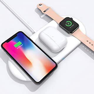 AQwzh 3 in 1 Qi Wireless Charging Pad Fast Charger Compatible with iPhone 11 11pro 11pro Max X XS XR Xs Max 8 8 Plus,Samsung S8 S7and iWatch Apple Watch Series 5 4 3 2 1 Airpods (White)