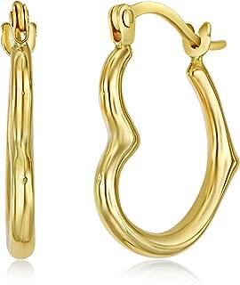 14k Gold Heart Shaped Hoop Earrings (13 x 15mm)