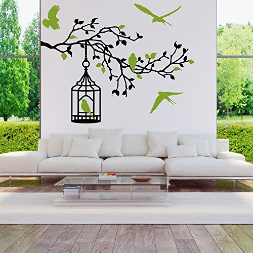 malango® Wandtattoo AST mit Vogelkäfig Wanddekoration Vögel Zweig Blätter Käfig Wand Tattoo Dekoration ca. 100 x 71 cm Vögelfarbe - grau