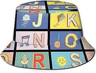 Cartoon Kids Alphabet_866 Bucket Hat Moda Animal Patrón Sombreros de Pescador