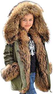 Kids Unisex Coat Winter Black Jacket Faux Fur Parka Casual Hooded Warm Trench Outwear Children Clothes for Girls Boys