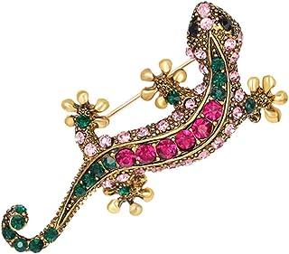 FENICAL Moda Vintage Lagarto broches de Colores Rhinestones Broche Pin Breastpin Joyas Accesorios Regalo para Mujeres