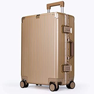 PC Trolley Case Universal Wheel Hard Shell Scratch-Resistant Travel Suitcase Custom Lock Luggage 20-28 Inch Gold 20 Inch