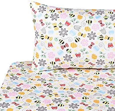 Kids Boy Girl Cartoon 100% Cotton 3-Pieces Twin Bedding Set, Flat Sheet + Fitted Sheet + Pillowcase