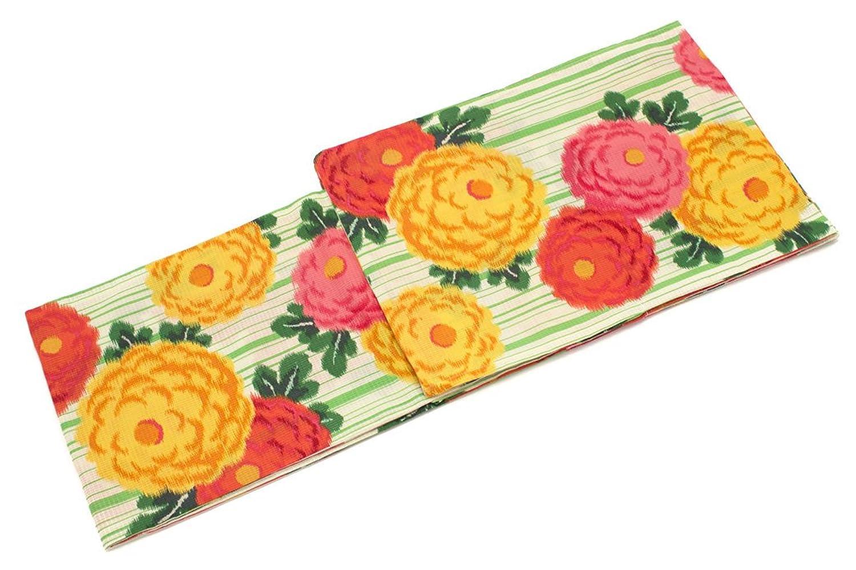 (ソウビエン) レディース浴衣 玉城ティナ×キスミス 緑色 グリーン 黄色 カラフル 菊 花柄 縞 ストライプ 綿 紅梅織 モダン 夏祭り 花火大会 女性用 仕立て上がり フリー