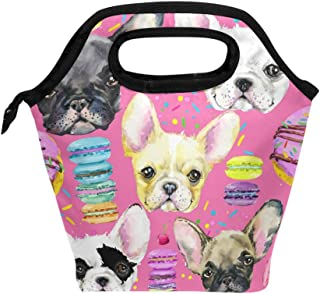 Bettken Lunch Bag Animal Dog French Bulldog Insulated Reusable Lunch Box Portable Lunch Tote Bag Meal Bag Ice Pack for Kids Boys Girls Adult Men Women