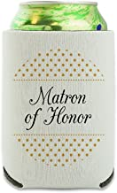 Matron of Honor Wedding Elegant Polka Dots Can Cooler - Drink Sleeve Hugger Collapsible Insulator - Beverage Insulated Holder