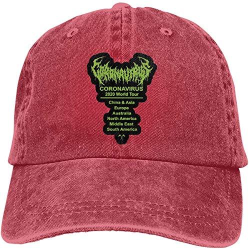 Hangdachang Corona-Virus World Tour 2020 - Cappelli da baseball regolabili in denim, stile retrò, da cowboy, per uomini e donne, sport all'aperto