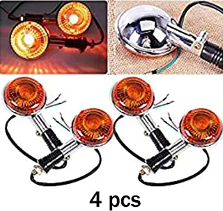 unbrand 4pcs Amber Lens Motorcycle Turn Signal Indicator Light Front Rear Flasher Blinker Light for Yamaha Virago V-Max