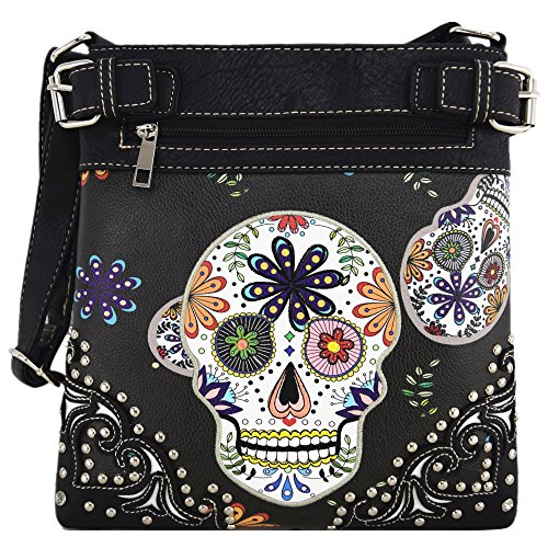 Sugar Skull Day of the Dead Cross Body Handbags Concealed Carry Purses Country Women Single Shoulder Bags (Black)