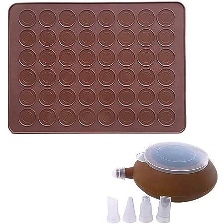 CETECK Tapis de cuisson en silicone pour macarons - Capacité de 48 feuilles de cuisson antiadhésives - Avec stylo de décoration et 4 buses - 2