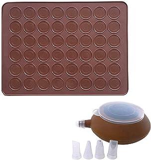 CETECK Tapis de cuisson en silicone pour macarons - Capacité de 48 feuilles de cuisson antiadhésives - Avec stylo de décor...