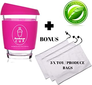 Eco Pack - Reusable 'Recharge' To-Go Cup with Bonus 3 mesh produce bags - Reusable Glass Coffee Cup with lid - 12 Ounce With Silicone Sleeve - 3 Colour Choices and 3 Mesh bags with draw string perfect for fruit and vegetables. Reuse and reduce plastics Cup: (Hot Pink)