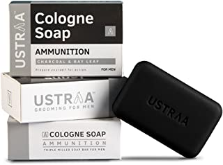 Ustraa Ammunition Cologne Soap with Charcoal & Bay Leaf, 125 gm (Pack of 3)