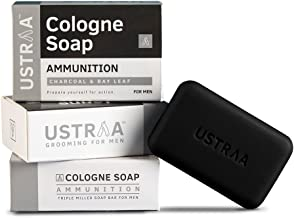 Ustraa Ammunition Cologne Soap With Charcoal And Bay Leaf, 125g (Pack Of 3)