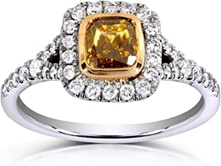 Cushion-cut Champagne Diamond Halo Ring 1 2/5ct TCW in 14k Two-tone Gold (Certified)