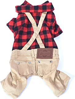 OSPet Dog Cotton Plaid Shirt Puppy Jumpsuit Overalls Outfit for Small Dogs