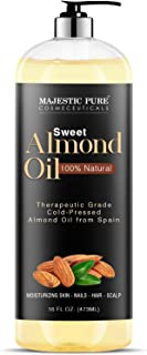 Majestic Pure Sweet Almond Oil, Triple A Grade Quality, Pure and Natural from Spain, Cold Pressed, (Packagi...
