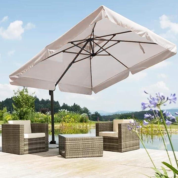 Ombrellone da giardino decentrato con parasole inclinabile palo in alluminio rotazione 360°base a croce bakaji B07QJW763T
