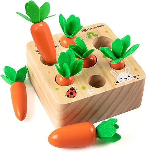 XIAPIA Jouet Bebe 1 an Jouet en Bois Jeu de tri Motricité Fine Montessori Jouets Enfant 1 2 3 Ans Récolte de Carottes...