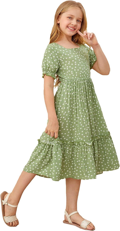 Floerns Girls Boho Square Neck Short Sleeve Ruffle Hem A Line Midi Dress