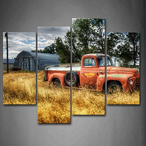 Old Truck Car Wall Art in Red and Trees and Dry Grasses in Field Wall Decor Painting Pictures Print On Canvas The Picture for Home Modern Decoration