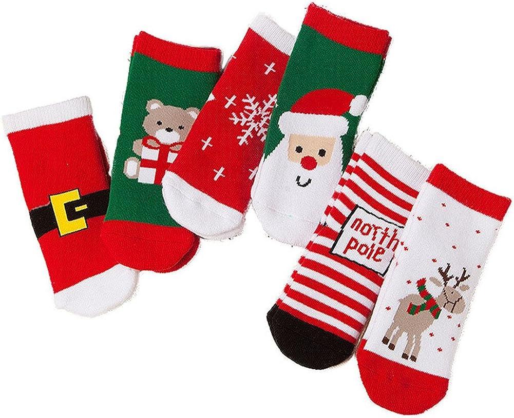ZaH 6 Pack Christmas Socks for Baby Big Boy Girl Cotton Ankle Sock Kids Gift Set