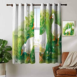 Jinguizi grommetRubber Duck Curtain Panels Goose in Farm Lake Plants Grass Reeds Flowers Pond Animals Geese Feathers Curtains for Bedroom Green and White 55 x 40 inch