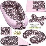 PALULLI - Set de 6 piezas para bebé (nido de 95 x 55 cm, cojín de lactancia, colchón para bebés, manta, cojín plano, cojín cervical, suave como el acurrucar) rosa Pony otoño.