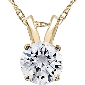 1/2ct Yellow Gold Round Diamond Solitaire Pendant 14K