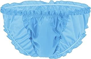 FEESHOW Men's Frilly Underwear Sissy Maid Ruffle Lace Open Back Bikini Panties