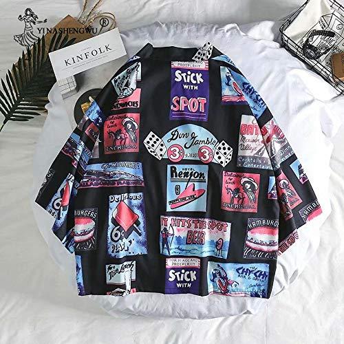 HYL0 Costume Cosplay Asiatica Yukata Donne Giapponese Kimono Cardigan Estate Giapponese Tradizionale Kimono Beach Allentato Casuale Camicia Leggera ZZBiao (Color : Black, Size : XXXL)
