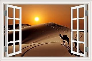 WLLLTY Wall Stickers 3D Window View Wall Deacls Vinyl Desert Landscape Sticker Large Size Removable Wallpaper Home Decor C...