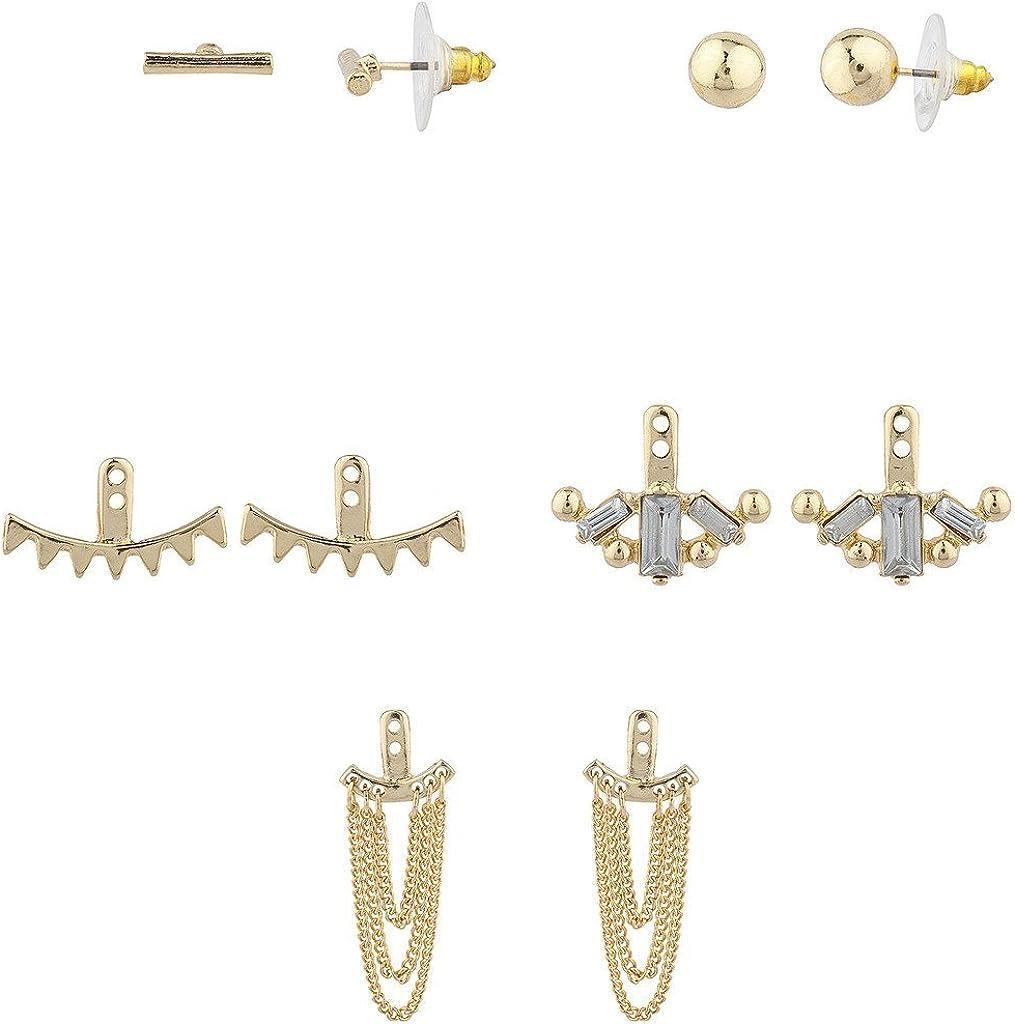 Lux Accessories Goldtone Geo Miss Match Ear Jacket Multi Earring Set (5pc)