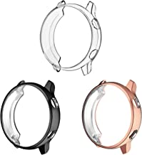 3 Pack - Fintie for Galaxy Watch Active 40mm Case, Premium Soft TPU Screen Protector All-Around Protective Bumper Shell Cover for Samsung Galaxy Watch Active Smartwatch, Black, Clear, Rose Gold